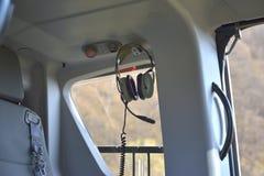 Εσωτερικό ελικόπτερο Ακουστικό ελικοπτέρων Στοκ Φωτογραφία
