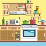 Εσωτερικό διάνυσμα κουζινών Στοκ Εικόνες