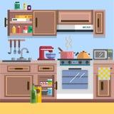Εσωτερικό διάνυσμα κουζινών Στοκ εικόνα με δικαίωμα ελεύθερης χρήσης