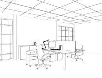Εσωτερικό διάνυσμα δωματίων γραφείων Στοκ Εικόνα