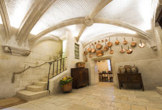 Εσωτερικό κάστρων Chenonceaux, άποψη της κουζίνας Στοκ Εικόνες