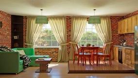 Εσωτερικό καθιστικό κουζινών στοκ εικόνες