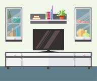 Εσωτερικό καθιστικό με τα έπιπλα, τη TV και το ράφι ελεύθερη απεικόνιση δικαιώματος