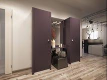 Εσωτερικό καθιστικό σχεδίου με την κουζίνα Στοκ Εικόνες