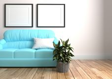Εσωτερικό καθιστικών με άσπρο μαξιλάρι στον μπλε καναπέ και δύο πλαίσια, ξύλινο πάτωμα στο κενό άσπρο υπόβαθρο τοίχων r απεικόνιση αποθεμάτων