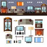 Εσωτερικό καθιστικών με τα έπιπλα διάνυσμα απεικόνιση αποθεμάτων