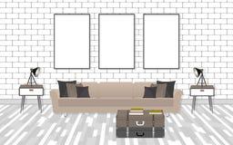 Εσωτερικό καθιστικών προτύπων στο ύφος hipster με τα πλαίσια, τον καναπέ, τους λαμπτήρες και τον άσπρο τουβλότοιχο ελεύθερη απεικόνιση δικαιώματος