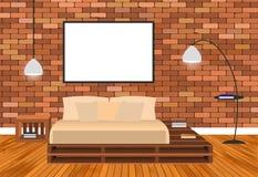 Εσωτερικό καθιστικών προτύπων στο ύφος hipster με το κενούς πλαίσιο, το κρεβάτι, τους λαμπτήρες και το τουβλότοιχο απεικόνιση αποθεμάτων
