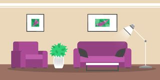 Εσωτερικό καθιστικών Σύγχρονα έπιπλα και άνετος διανυσματική απεικόνιση