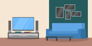 Εσωτερικό καθιστικών Σύγχρονα έπιπλα και άνετος ελεύθερη απεικόνιση δικαιώματος