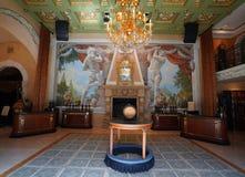 Εσωτερικό και δοκιμάζοντας δωμάτιο στη Del Dotto Estate οινοποιία & σπηλιές στην κοιλάδα Napa Στοκ εικόνα με δικαίωμα ελεύθερης χρήσης