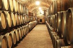 Εσωτερικό κελαριών κρασιού με τα μεγάλα βαρέλια στοκ φωτογραφία