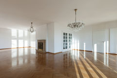 Εσωτερικό, κενό δωμάτιο με την εστία στοκ εικόνα με δικαίωμα ελεύθερης χρήσης