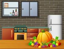 Εσωτερικό κουζινών κινούμενων σχεδίων με τα έπιπλα και τα φρούτα σε έναν ξύλινο πίνακα ελεύθερη απεικόνιση δικαιώματος