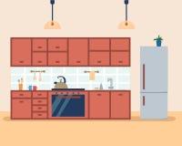 Εσωτερικό κουζινών με τα έπιπλα και τη σόμπα, το ντουλάπι, το ψυγείο και τα εργαλεία Επίπεδη διανυσματική απεικόνιση ύφους κινούμ ελεύθερη απεικόνιση δικαιώματος