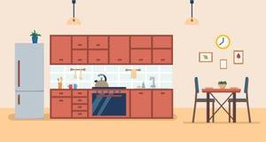 Εσωτερικό κουζινών με τα έπιπλα και τη σόμπα, το ντουλάπι, το ψυγείο, τα εργαλεία και τον πίνακα γευμάτων Επίπεδη διανυσματική απ απεικόνιση αποθεμάτων