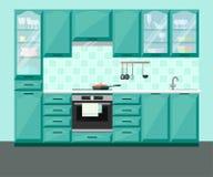 Εσωτερικό κουζινών με τα έπιπλα και τον εξοπλισμό Στοκ Φωτογραφία