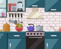 Εσωτερικό κουζινών με τα έπιπλα, συσκευές, πιάτα Επίπεδο σχέδιο διανυσματική απεικόνιση