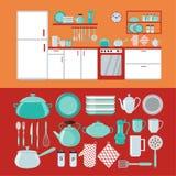Εσωτερικό κουζινών με τα έπιπλα και το σύνολο πιάτων διανυσματική απεικόνιση