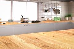 Εσωτερικό κουζινών με τον κενό μετρητή Στοκ Φωτογραφίες