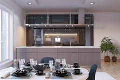 Εσωτερικό κουζινών πολυτέλειας με να δειπνήσει την περιοχή απεικόνιση αποθεμάτων