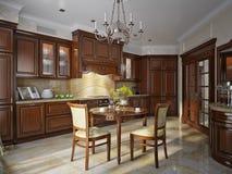 Εσωτερικό κουζινών στο κλασικό ύφος στοκ εικόνα με δικαίωμα ελεύθερης χρήσης
