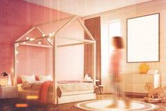 Εσωτερικό κρεβατοκάμαρων κοριτσιών s, αφίσα, γωνία, γυναίκα Στοκ Εικόνες