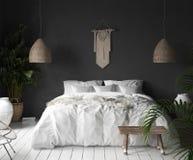 Εσωτερικό κρεβατοκάμαρων με το μαύρο τοίχο, το ντεκόρ ύφους boho και το άσπρο κρεβάτι διανυσματική απεικόνιση