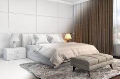 Εσωτερικό κρεβατοκάμαρων με το πλέγμα CAD wireframe τρισδιάστατη απεικόνιση Στοκ Εικόνες