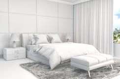 Εσωτερικό κρεβατοκάμαρων με το πλέγμα CAD wireframe τρισδιάστατη απεικόνιση Στοκ εικόνες με δικαίωμα ελεύθερης χρήσης