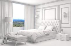 Εσωτερικό κρεβατοκάμαρων με το πλέγμα CAD wireframe τρισδιάστατη απεικόνιση Στοκ φωτογραφία με δικαίωμα ελεύθερης χρήσης