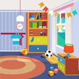 Εσωτερικό κρεβατοκάμαρων παιδιών με τα έπιπλα και τα παιχνίδια απεικόνιση αποθεμάτων