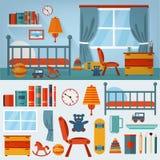 Εσωτερικό κρεβατοκάμαρων παιδιών με τα έπιπλα και το σύνολο παιχνιδιών διανυσματική απεικόνιση