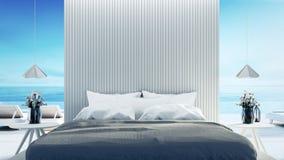 Εσωτερικό κρεβατοκάμαρων παραλιών - σύγχρονο & οι διακοπές πολυτέλειας/τρισδιάστατος δίνουν διανυσματική απεικόνιση