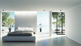 Εσωτερικό κρεβατοκάμαρων παραλιών - σύγχρονο & οι διακοπές πολυτέλειας/τρισδιάστατος δίνουν την εικόνα απεικόνιση αποθεμάτων