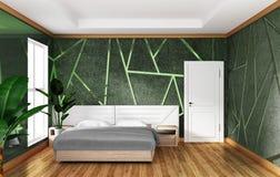 Εσωτερικό κρεβατοκάμαρων σοφιτών με το πράσινο συγκεκριμένο υπόβαθρο σχήματος, ελάχιστα σχέδια r ελεύθερη απεικόνιση δικαιώματος