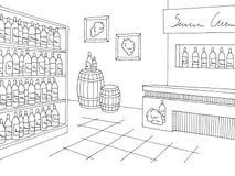 Εσωτερικό μαύρο άσπρο γραφικό διάνυσμα απεικόνισης σκίτσων καταστημάτων καταστημάτων κρασιού Στοκ φωτογραφία με δικαίωμα ελεύθερης χρήσης