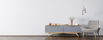 Εσωτερικό με την ξύλινη τρισδιάστατη απόδοση γραφείων και πολυθρόνων Στοκ Φωτογραφίες