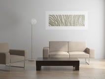 Εσωτερικό με την πολυθρόνα και τον πίνακα καναπέδων Στοκ εικόνες με δικαίωμα ελεύθερης χρήσης