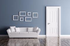 Εσωτερικό με την πόρτα και τον καναπέ διανυσματική απεικόνιση