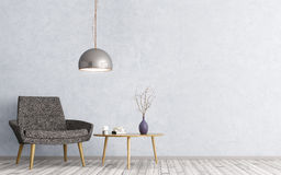 Εσωτερικό με την τρισδιάστατη απόδοση πολυθρόνων και τραπεζάκι σαλονιού Στοκ εικόνα με δικαίωμα ελεύθερης χρήσης