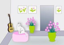 Εσωτερικό με τη γάτα Στοκ Φωτογραφίες
