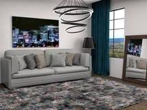 Εσωτερικό με τον γκρίζο καναπέ τρισδιάστατη απεικόνιση Στοκ εικόνα με δικαίωμα ελεύθερης χρήσης