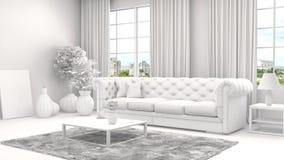 Εσωτερικό με τον καναπέ και το πλέγμα CAD wireframe τρισδιάστατη απεικόνιση Στοκ φωτογραφία με δικαίωμα ελεύθερης χρήσης