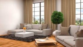 Εσωτερικό με τον καφετή καναπέ τρισδιάστατη απεικόνιση Στοκ Εικόνες