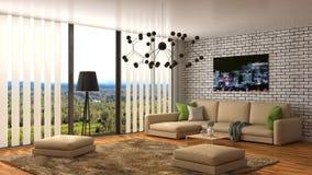 Εσωτερικό με τον καφετή καναπέ τρισδιάστατη απεικόνιση Στοκ Φωτογραφία