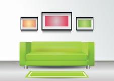 Εσωτερικό με τον πράσινο καναπέ Στοκ Εικόνες