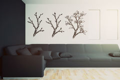 Εσωτερικό με το μαύρο καναπέ και τα συρμένα δέντρα διανυσματική απεικόνιση