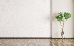 Εσωτερικό με το συμπαγή τοίχο και την ξύλινη τρισδιάστατη απόδοση πατωμάτων ελεύθερη απεικόνιση δικαιώματος