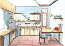 Εσωτερικό μιας κουζίνας στο watercolor Στοκ Εικόνες